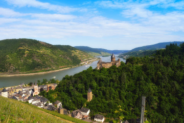 Castle Stahleck with river rhine Unesco world heritage