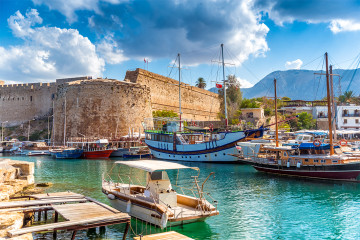 Kyrenia harbour overlooked by the fort. Kyrenia, Cyprus